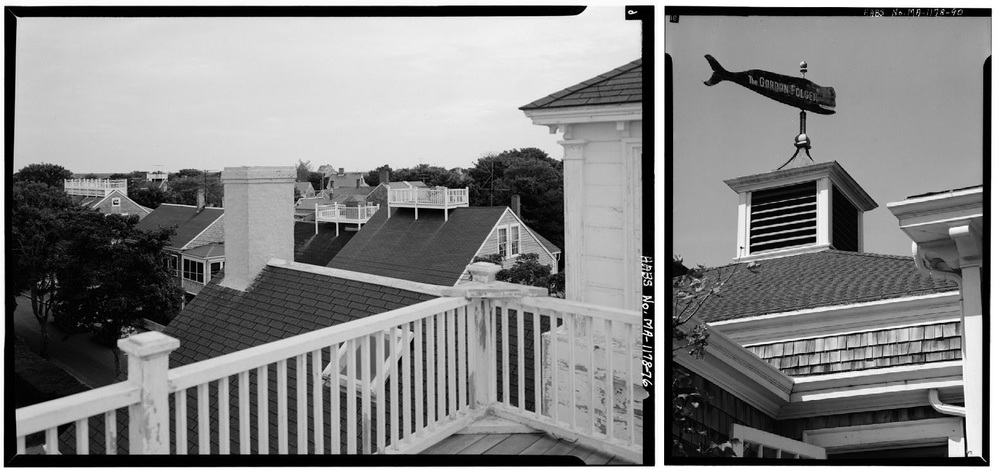 Left: Houses with Captain's Walks, Nantucket, Mass. From loc.gov Right: Gordon Folger Hotel detail, Nantucket, Mass. From loc.gov