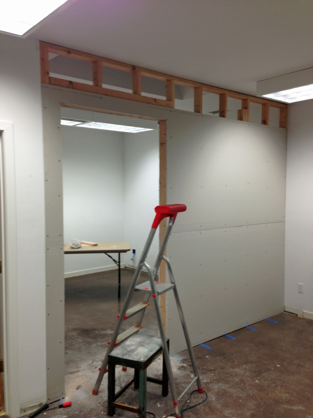 Sheetrock almost done.