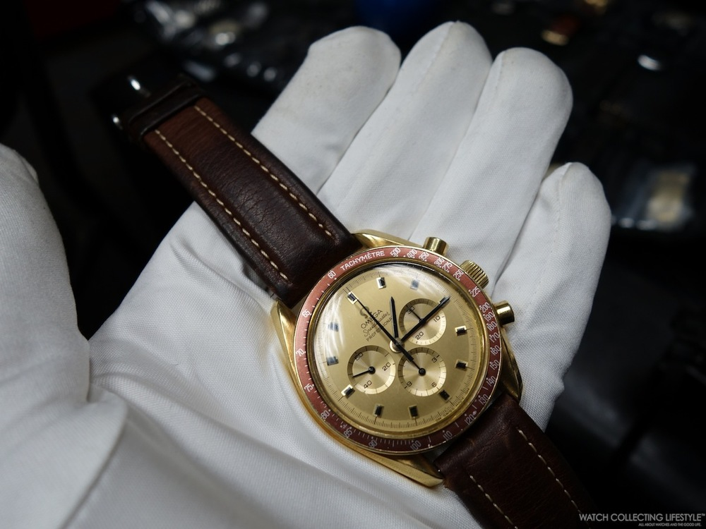 Omega Speedmaster Apollo XI 1969 Commemorative Gold Watch. Only 1000 pieces ever made. Number 1 and 2 were presented by Omega as gifts to President Richard Nixon and his Vicepresident. Considering the value of the watches, they didn't accept them and they are now on display at the Omega Museum. This is one of the other 998 ever made.