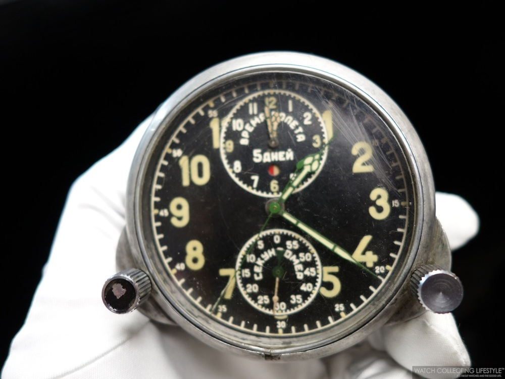 Russian MiG Aircraft Mechanical Cockpit Clock with integrated chronograph.