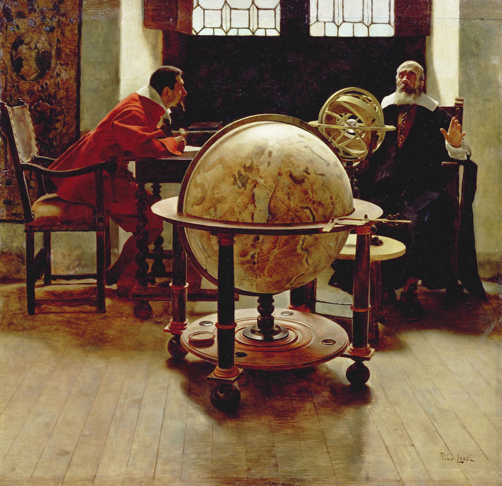 Painting of Galileo Galilei and Vincenzo Viviani by Tito Lessi.