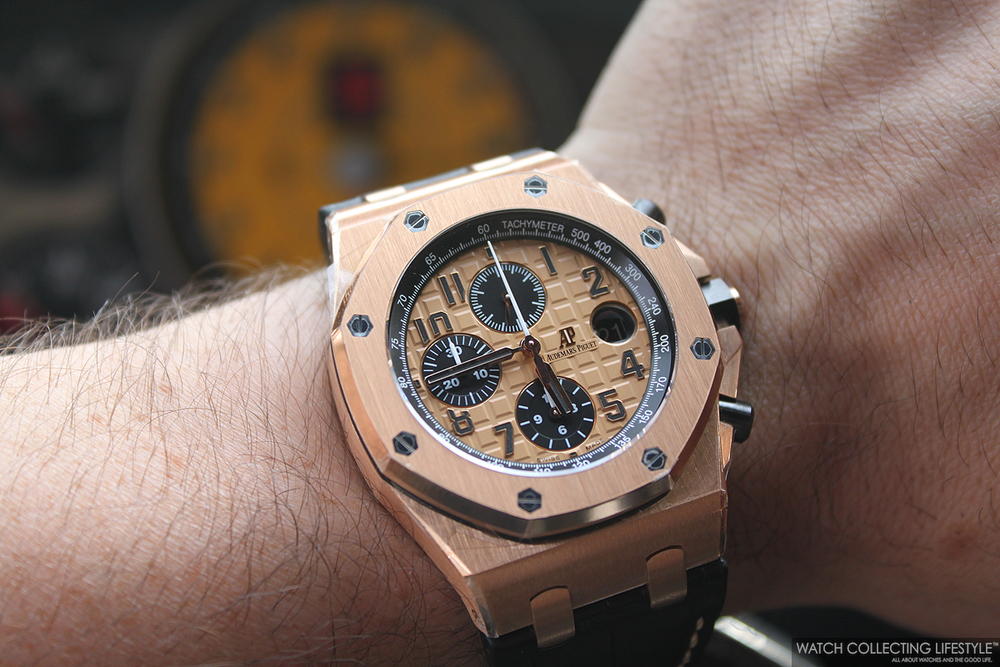 Experience ferrari f430 scuderia and the audemars piguet royal oak offshore chronograph ref for Royal oak offshore rose gold 42mm