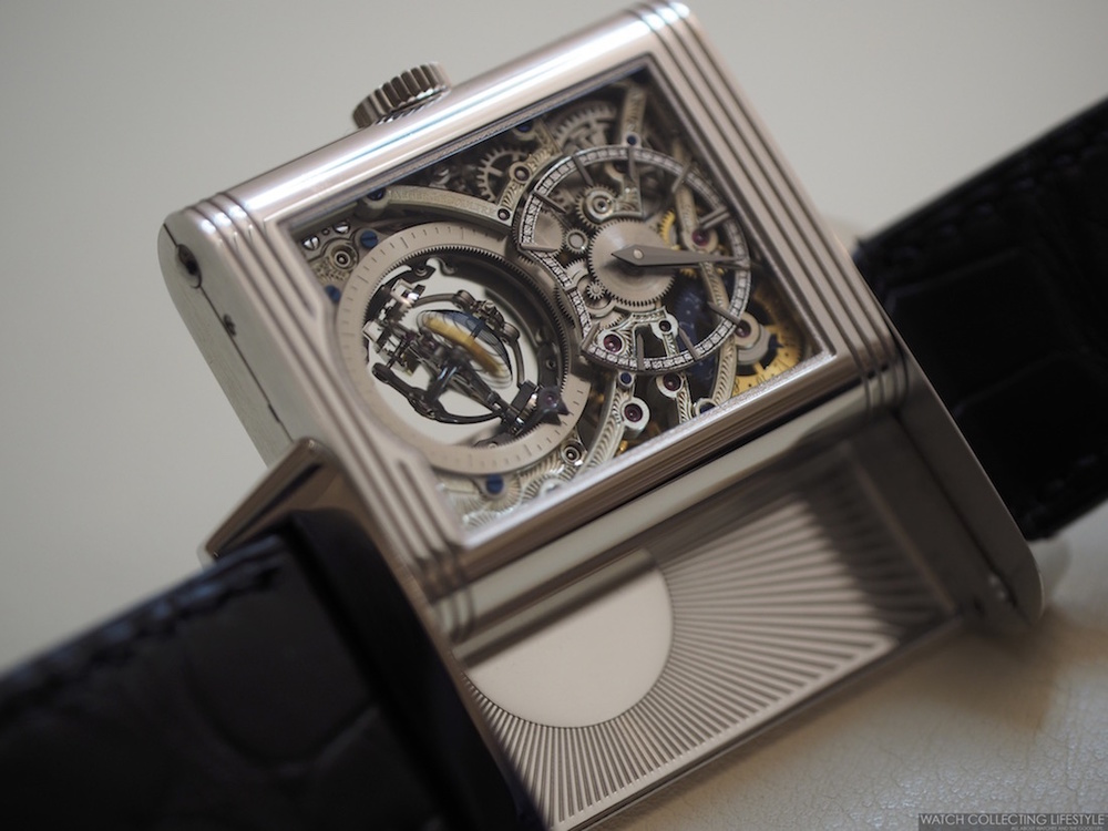 72d2c380181 ... verso side of the new Jaeger-LeCoultre Reverso Tribute Gyrotourbillon.  These live pictures show some of the different positions of the  Gyrotourbillon as ...