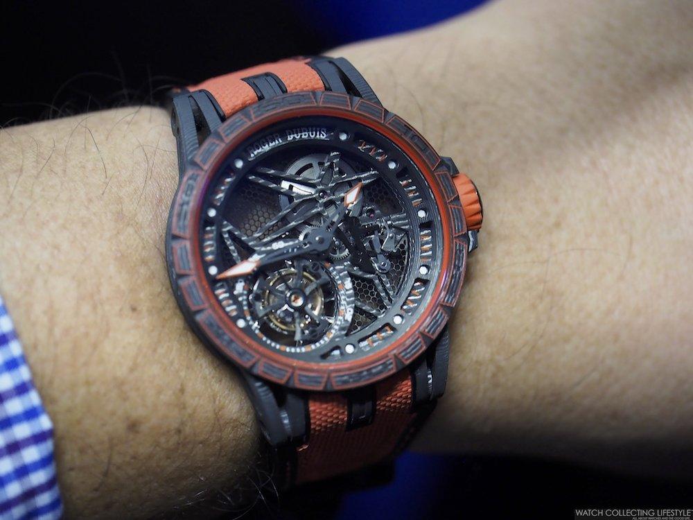 Roger Dubuis Excalibur Spider Carbon Skeleton Flying Tourbillon Wristshot