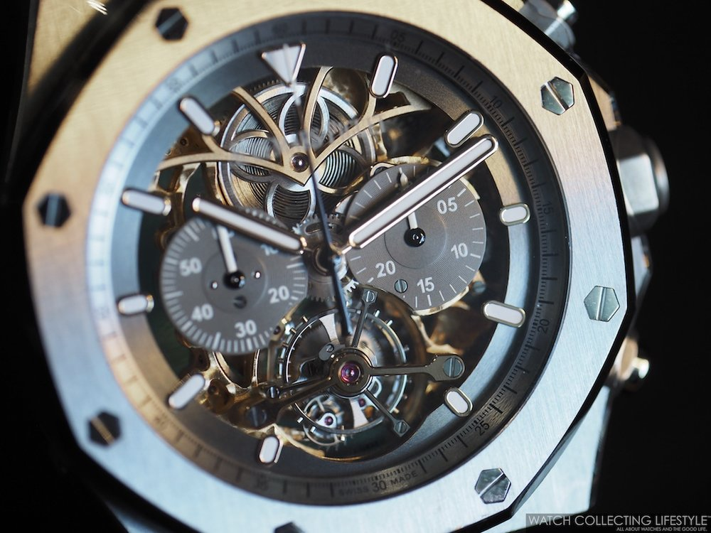 Audemars Piguet Royal Oak Tourbillon Chronograph Openworked x Material Good ref. 26347TI in Titanium