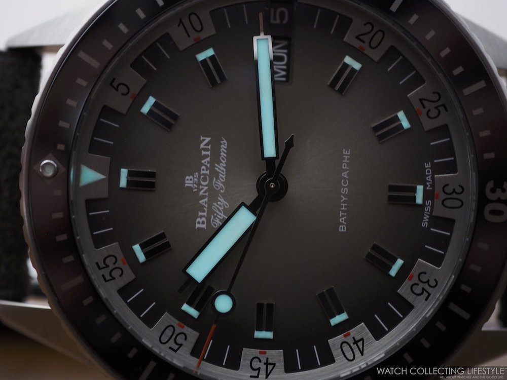 Blancpain Fifty Fathoms Bathyscaphe Day Date 70s Lume shot