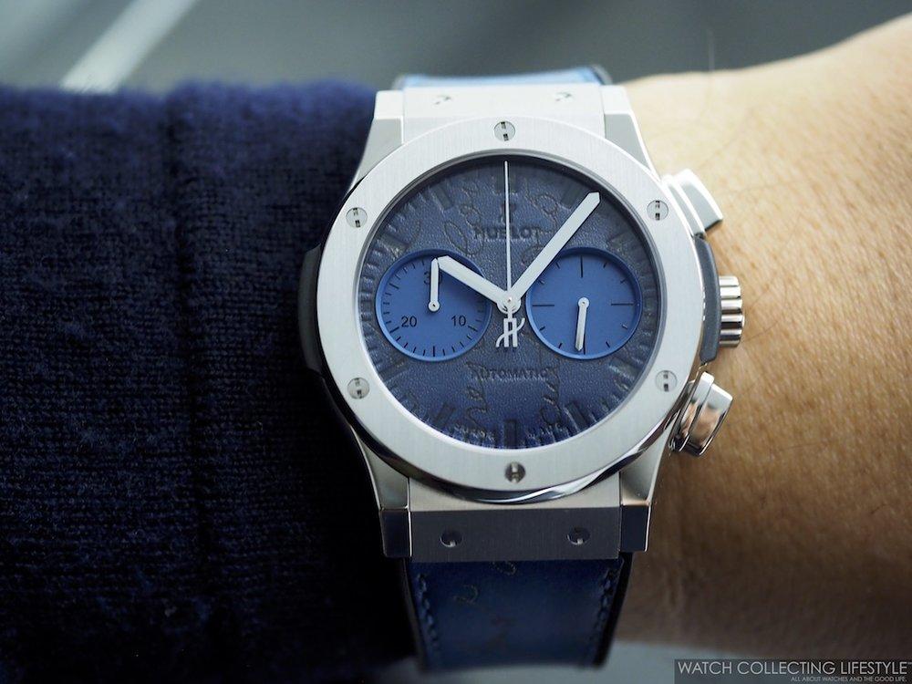 Hublot Classic Fusion Chronograph Berluti Scritto Ocean Blue Wristshot