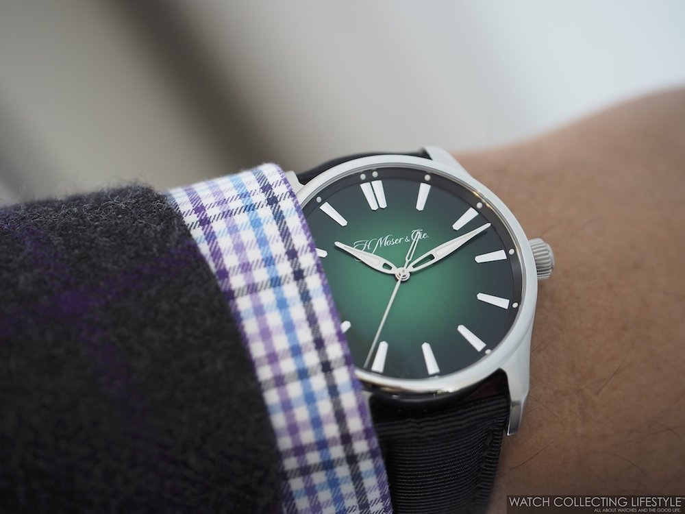 H. Moser & Cie. Pioneer Center Seconds Cosmic Green WCL Wristshot