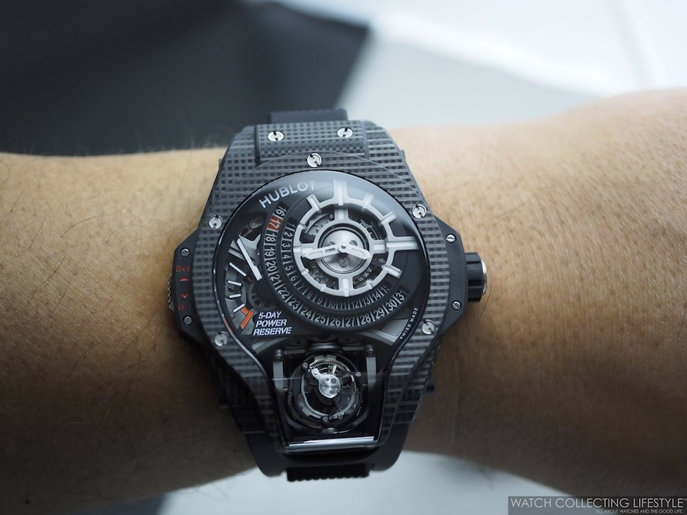 Hublot MP-09 Tourbillon Bi-Axis 3D Carbon Wristshot