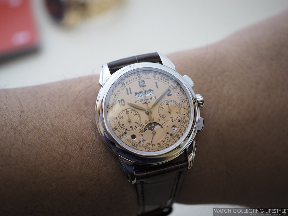 Patek Philippe ref. 5270P in Platinum with Salmon Dial Wristshot WCL