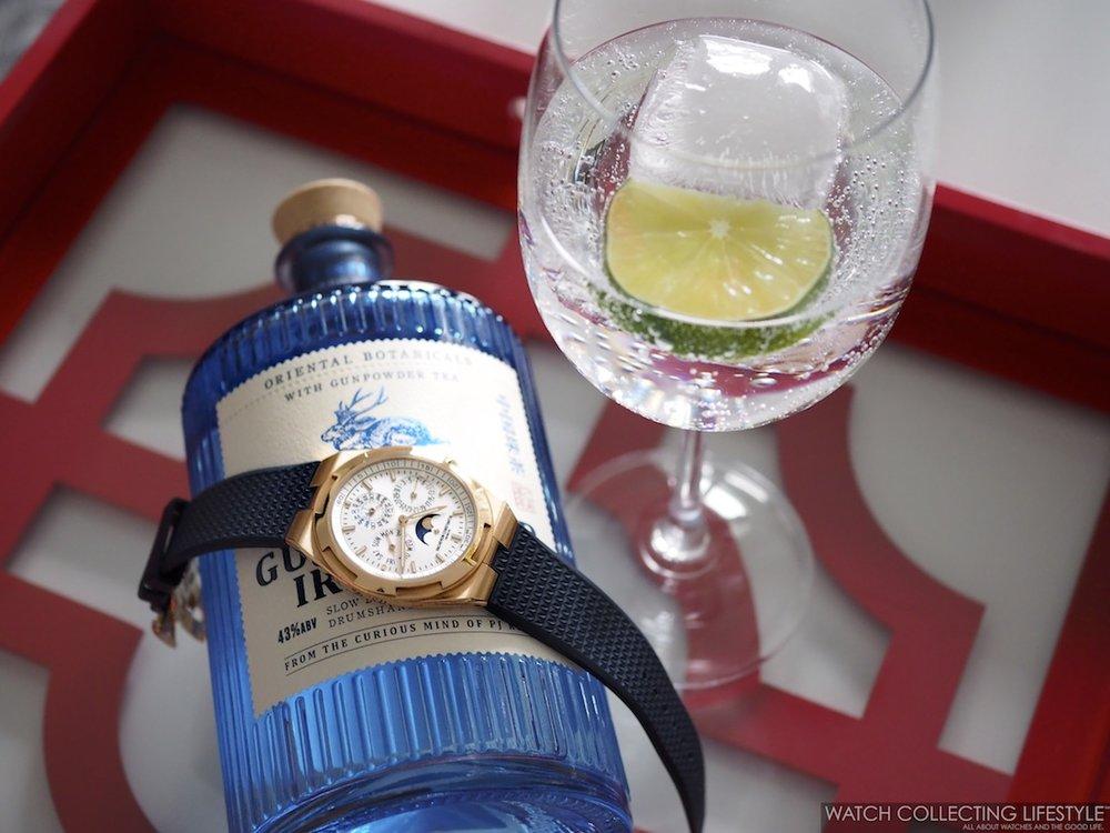 Drumshanbo Gunpowder Irish Gin and Vacheron Constantin Perpetual Calendar WCL