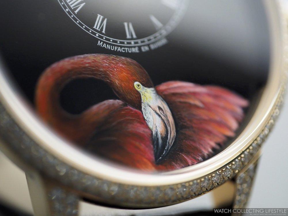 Jaquet Droz Petite Heure Minute Flamingo WCL