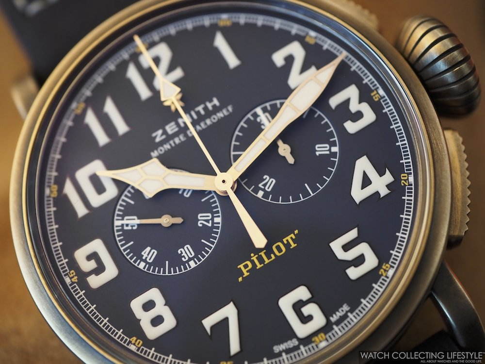 Zenith Pilot Type 20 Chronograph Extra Special Bronze Blue Dial Macro