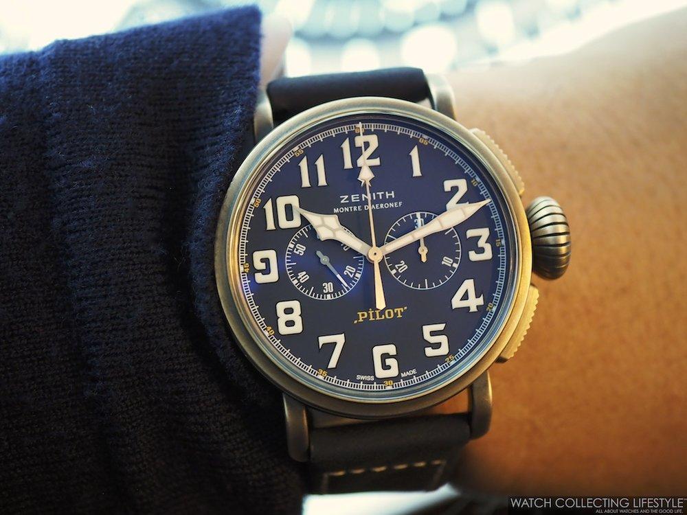 Zenith Pilot Type 20 Chronograph Extra Special Bronze Blue Dial Wristshot