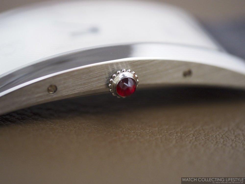 Cartier Tank Cintrée Platinum Ruby Cabochon