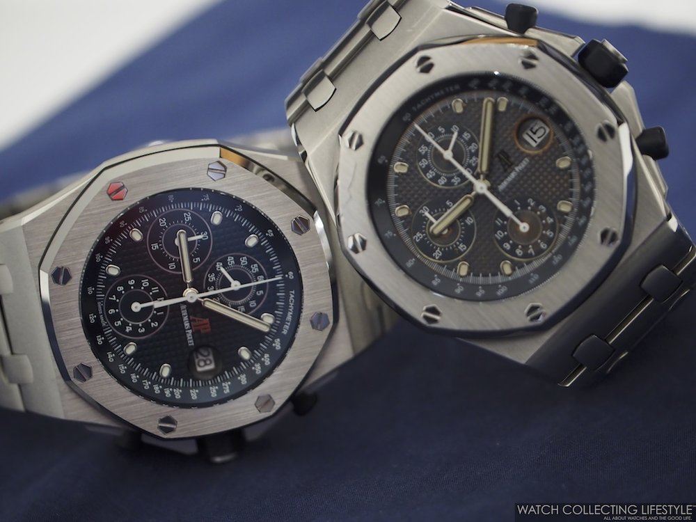 2018 Reissue/Re-Edition of the Royal Oak Offshore 'The Beast' ref. 26237ST on the left, next to Original Royal Oak Offshore ref. 25721ST.