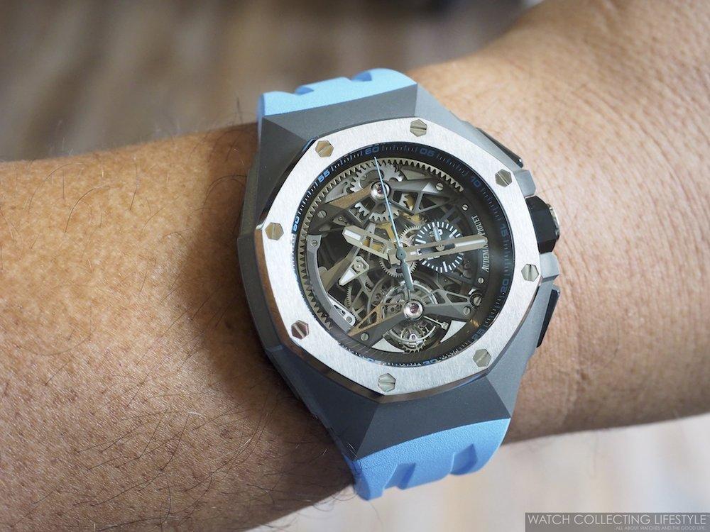 Audemars Piguet Royal Oak Concept Tourbillon Chronograph Openworked Blue Wristshot 2