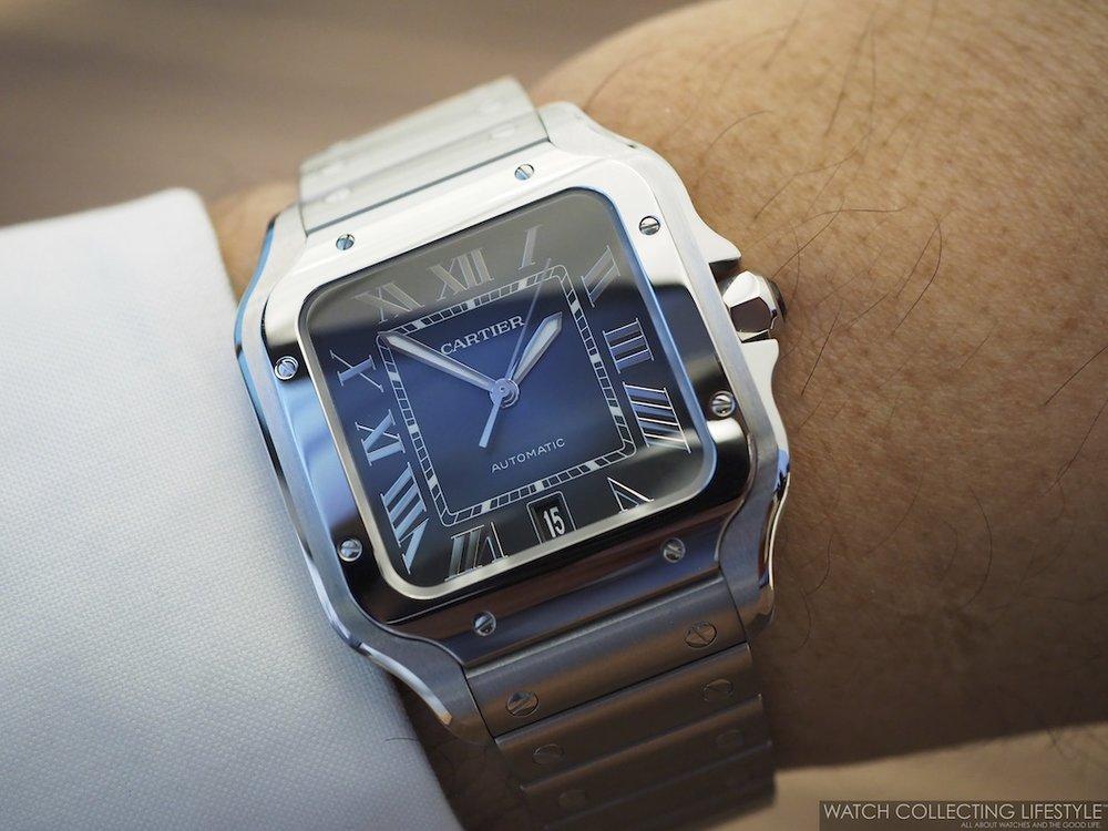 Santos de Cartier Blue Dial Wristshot