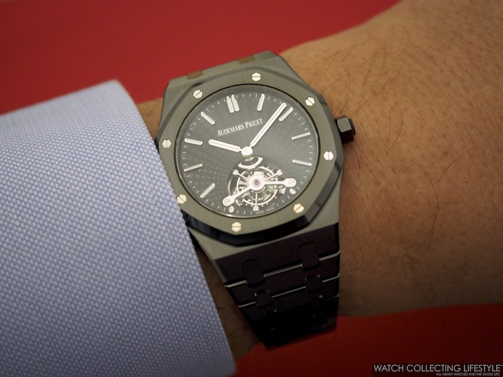 Audemars Piguet Royal Oak Tourbillon Extra-Thin Black Ceramic ref. 26522CE Wristshot WCL