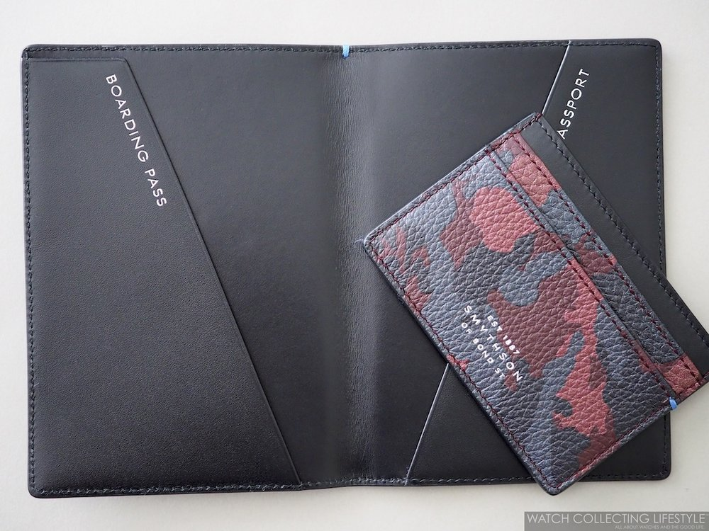 Smythson Burlington Card and Passport Holder Oxblood Camouflage