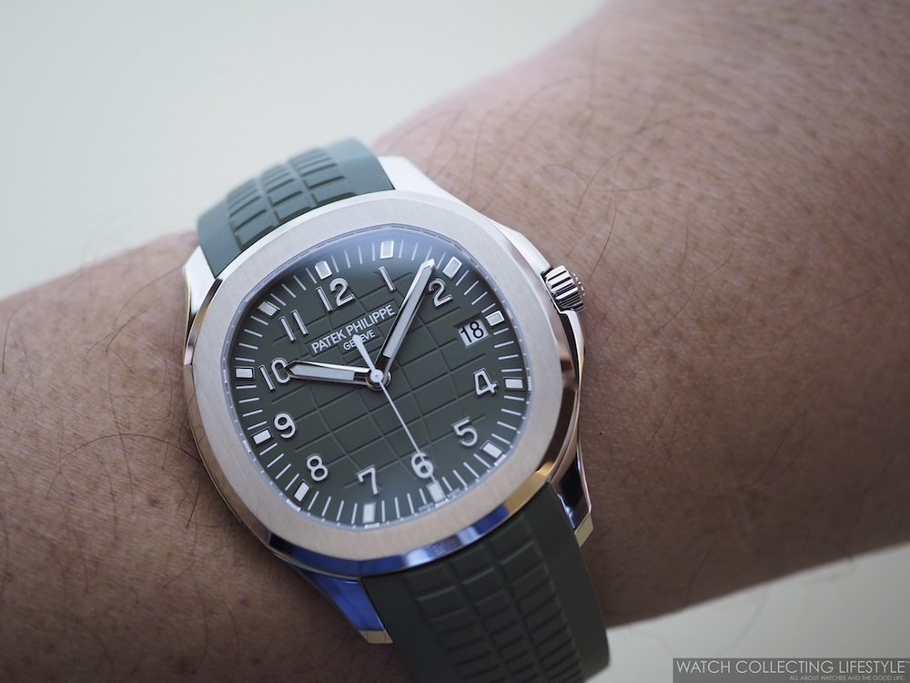 Patek Philippe Aquanaut Khaki Green ref. 5168G-010 Wristshot