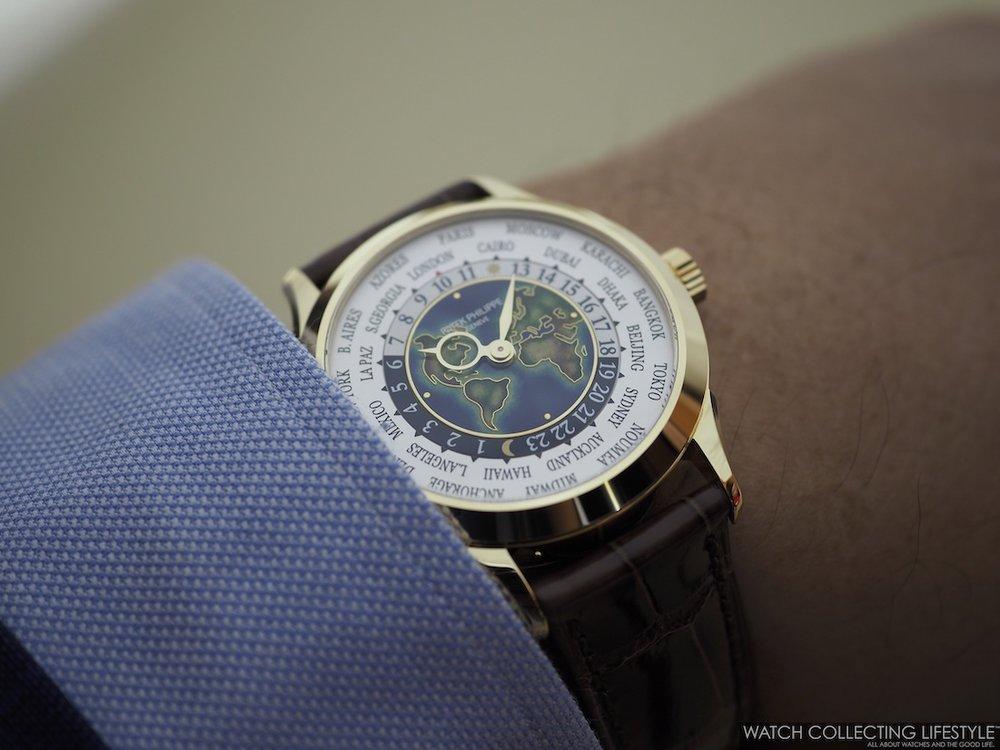 Patek Philippe World Time ref. 5231J Cloisonné Dial Wristshot