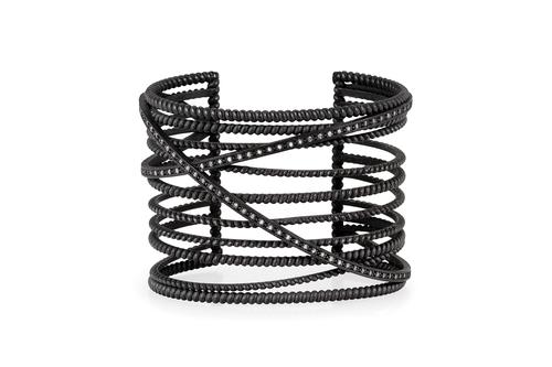 oxidized silver diamond X cuff — Nancy Newberg Jewelry