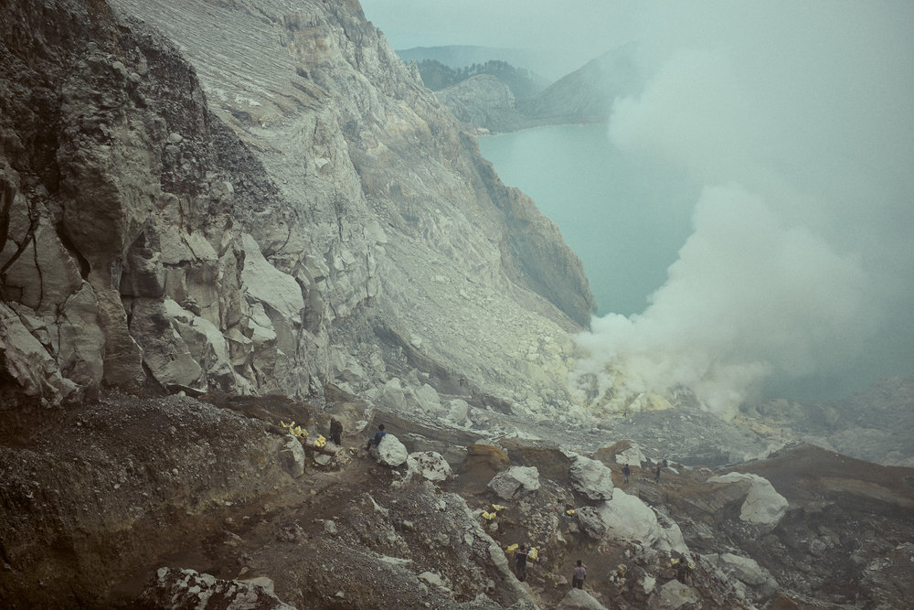 Ijen Crater, Java, Indonesia. Ijen is mined for sulphur. ©Laurence Gibson