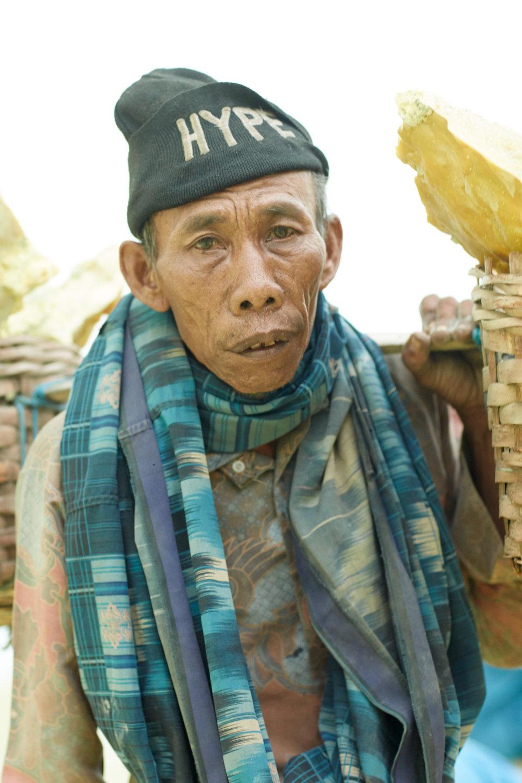 Sulphur Miner Portrait, Ijen Crater, East Java, Indonesia. ©Laurence Gibson