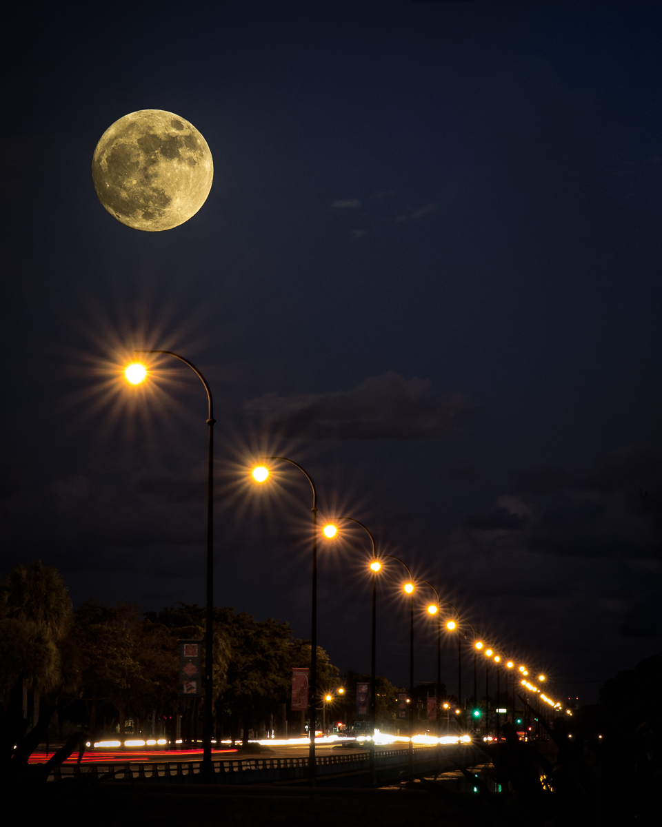"""Supermoon Over Broward Blvd"""