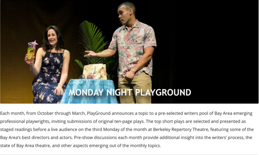 Another Monday Night - Patrick returns to act in another Monday Night Playground at Berkeley Rep. on December 17th, 2019. Click HERE for details.