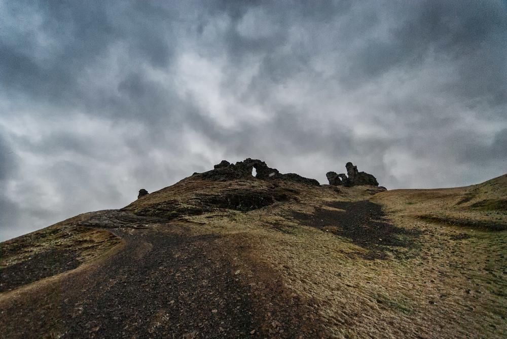 the approach to Dinas Brân