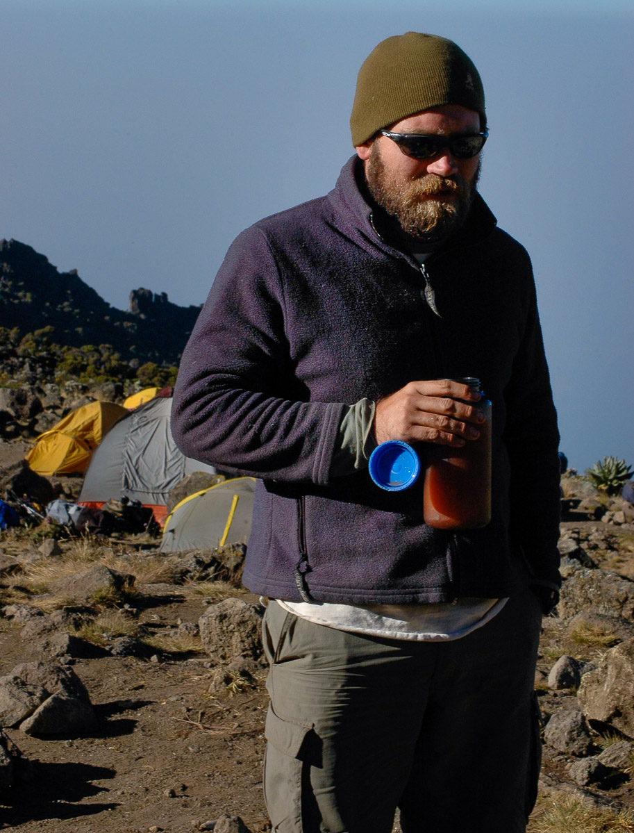 Feeling the altitude at 17,000 feet during my 2005 climb of Mt. Kilimanjaro