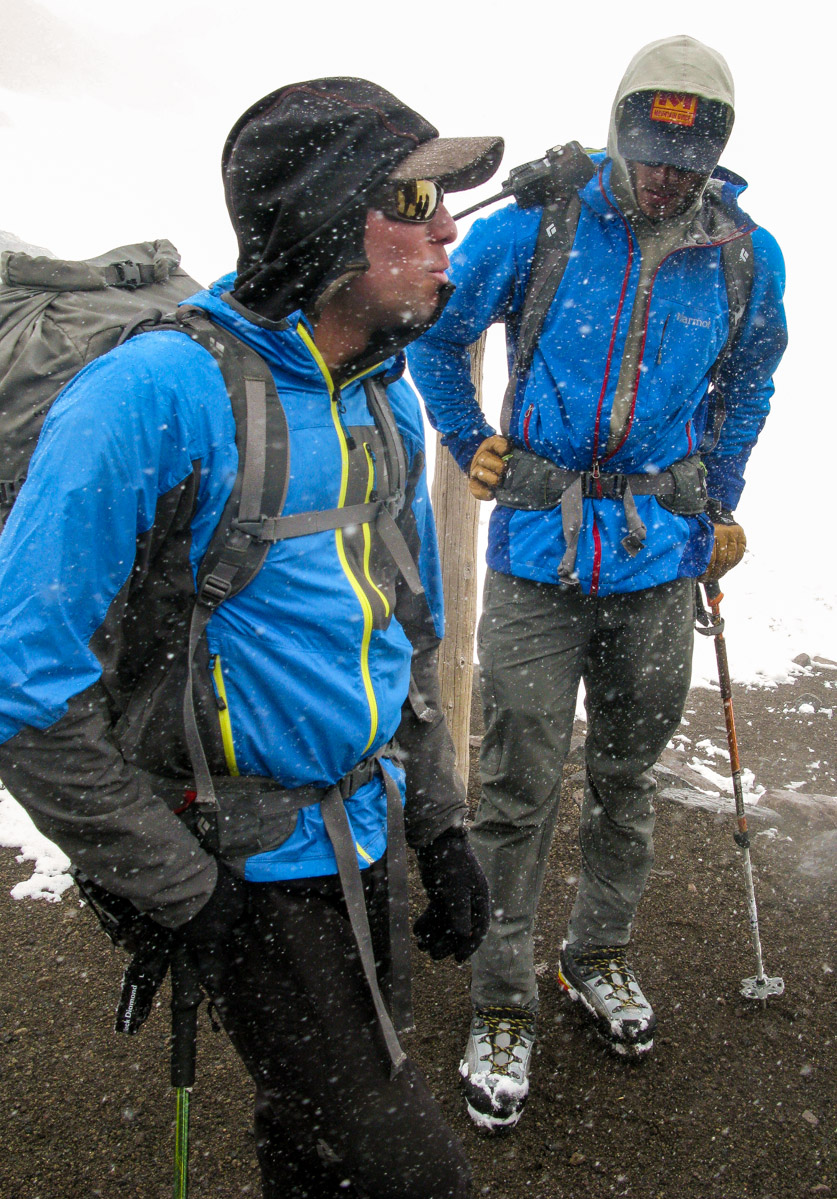 Guides Mark & Sean in snowy conditions during climbing school
