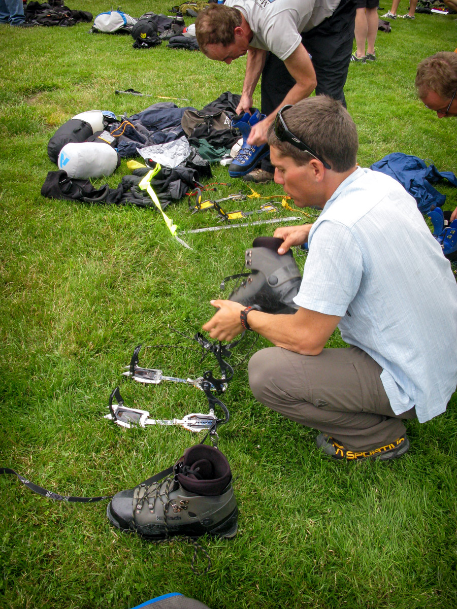 Gear preparation at Base Camp