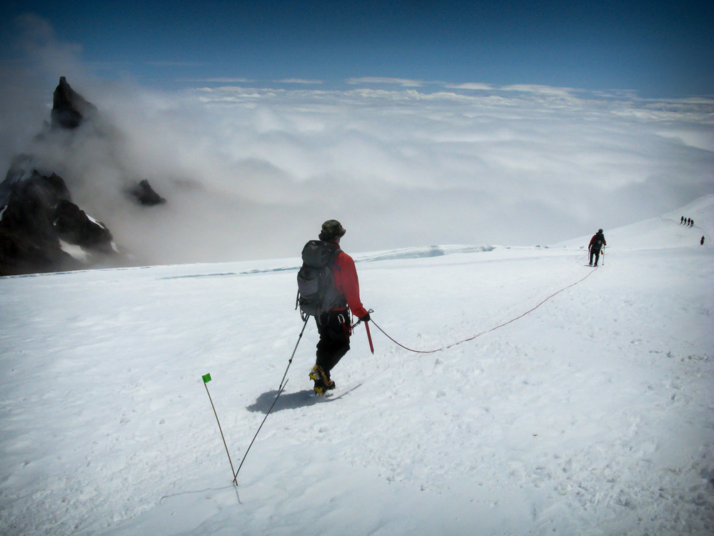 Descending down Ingraham Flats