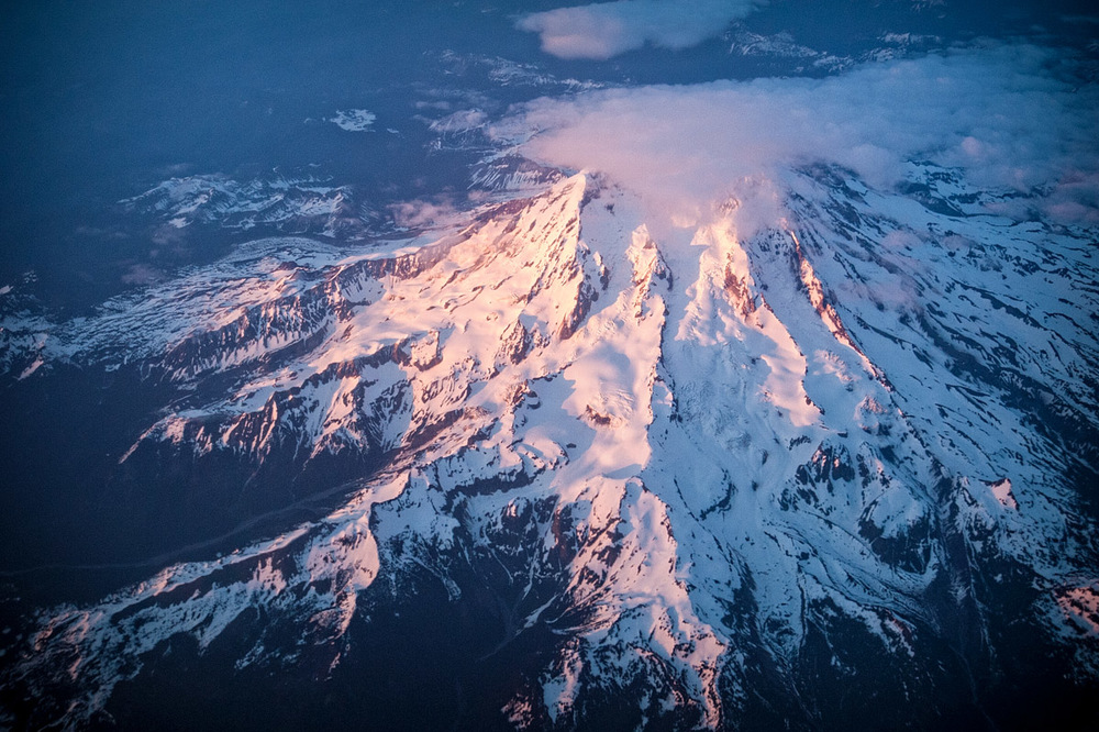 Flying over Mt Rainier after a fantastic six days