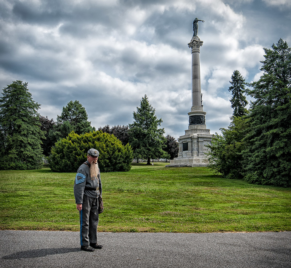 A Confederate re-enactor at Gettysburg National Cemetary