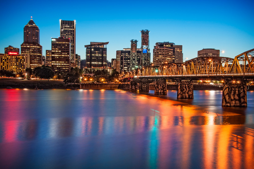 The Portland skyline at twilight.