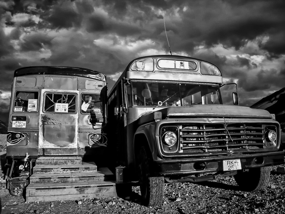 An old school bus now acting as a market place for weary backpackers doing the 50km Skogar to Landmannalaugar trek.