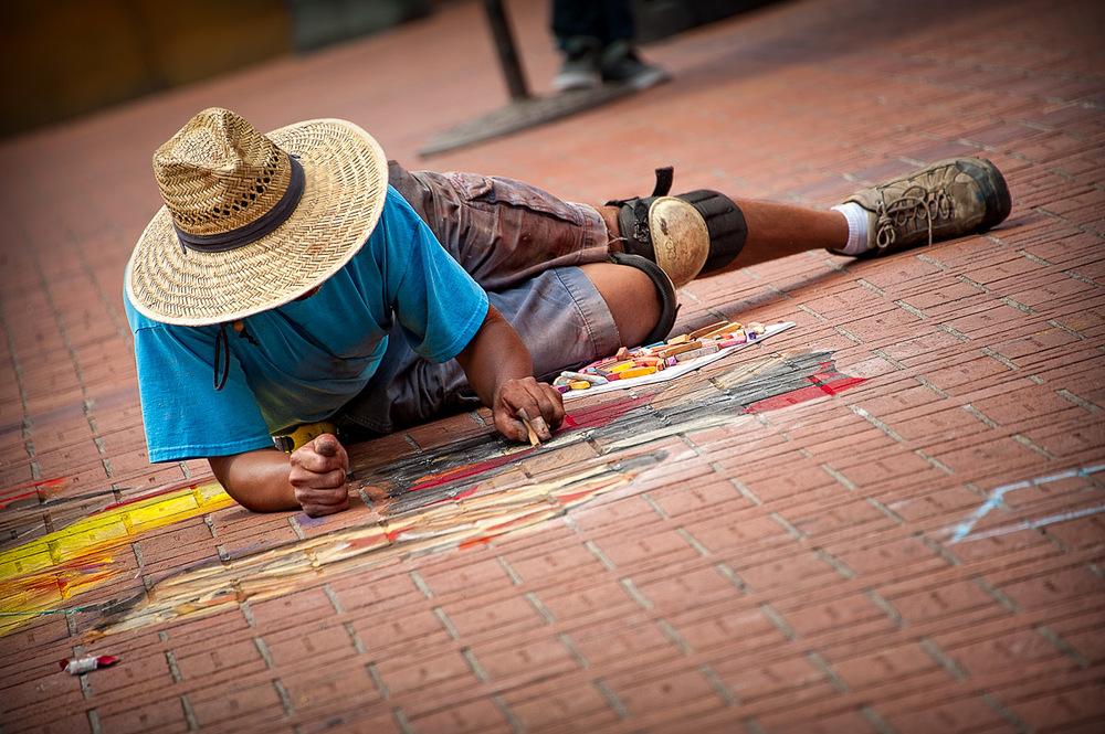 Street artist, Downtown Portland