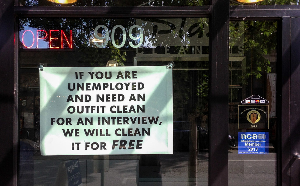 Helping out the unemployed, Downtown Portland