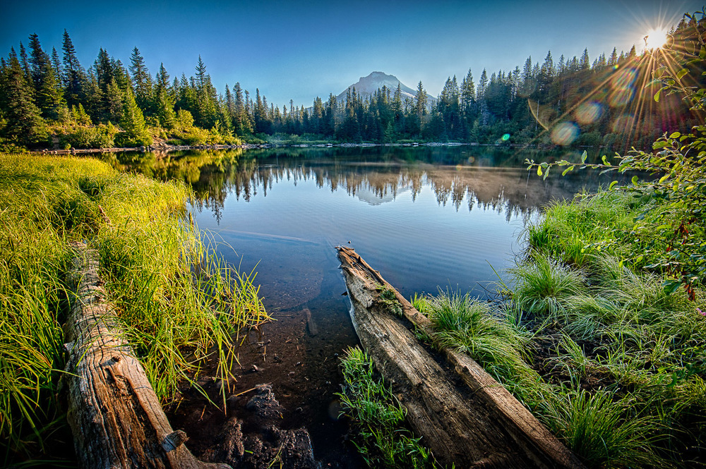 Sunrise over Mirror Lake in Oregon with 11,240 ft Mt. Hood in the background.