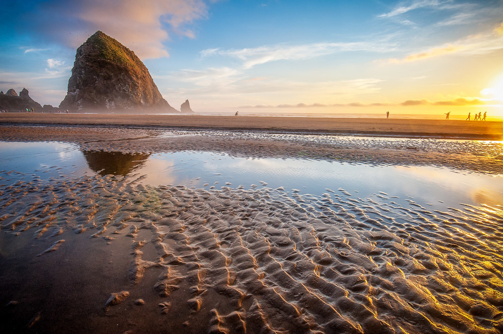 Oregon's Cannon Beach at sunset