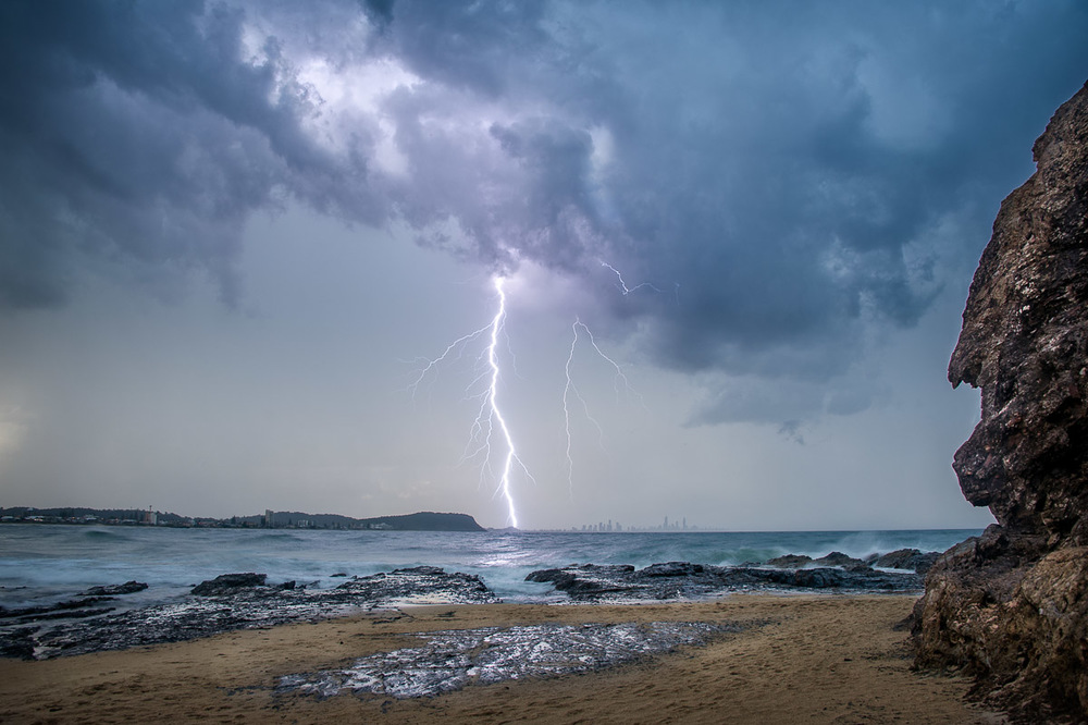 Lightning dropping down over the north end of the Gold Coast