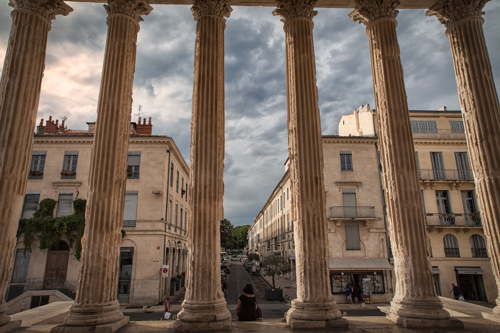 View from in front of the doors to the temple looking along the streets of Nîmes