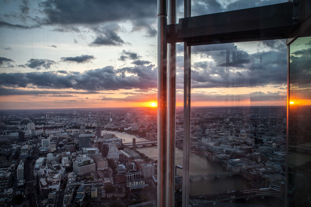 Twin sunsets over London, looking west from the Shard
