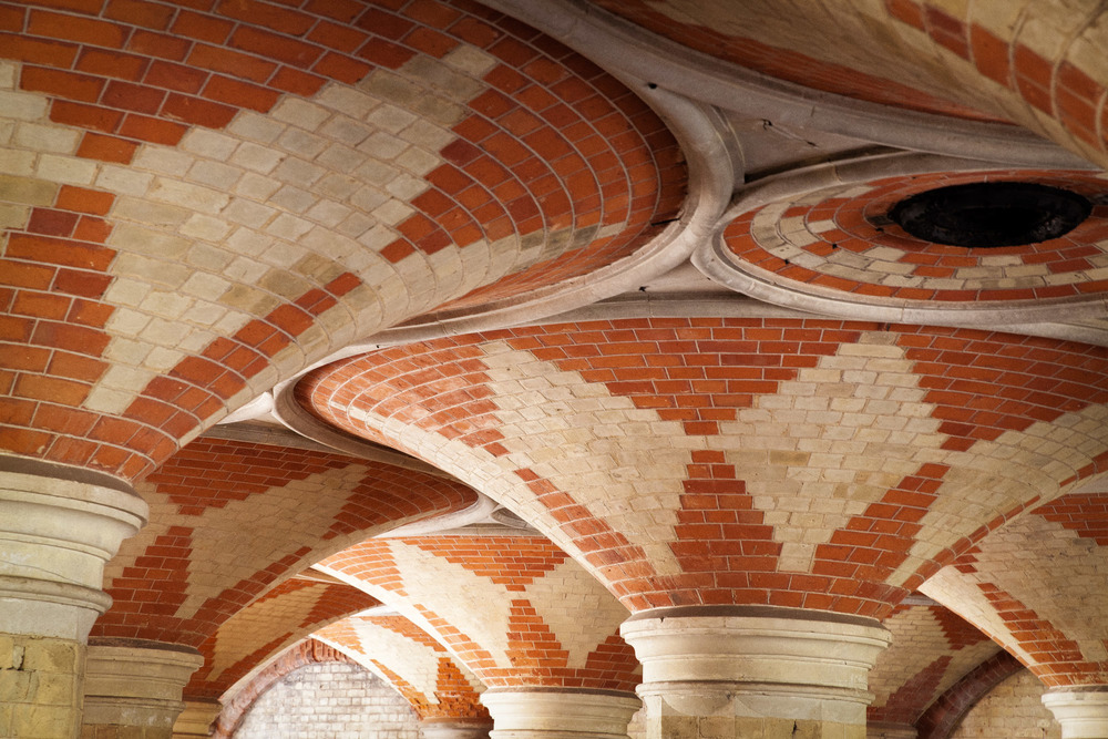 The Italianate brick design of the disused public subway at Crystal Palace Park.