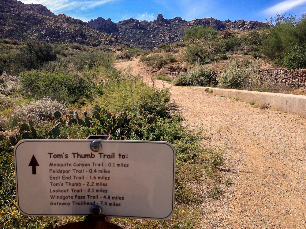 The trailhead for the Tom's Thumb Trail
