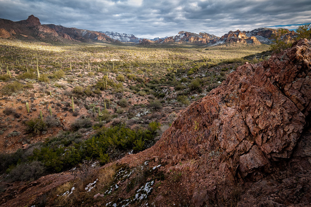 DESERT VISTA The expansive, wintry Superstition Wilderness